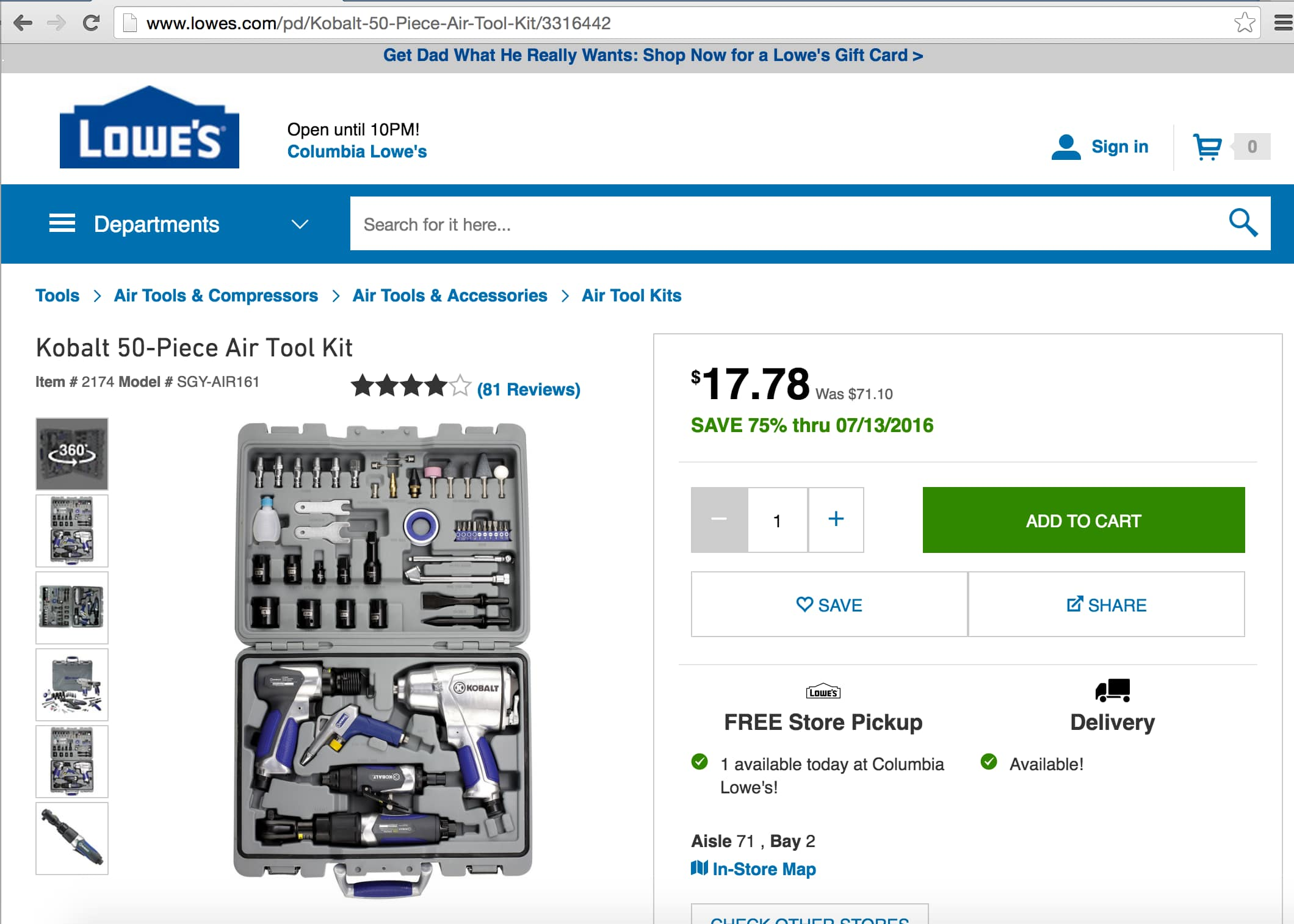 Kobalt 50-Piece Air Tool Kit for $17.78 YMMV
