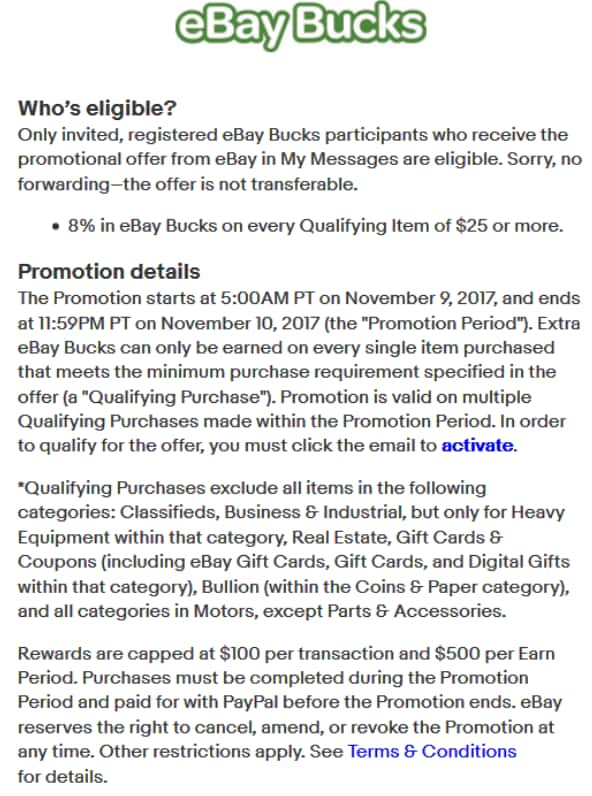Earn 8% in eBay Bucks on all qualifying items of $25 or more! till 11/10 YMMV