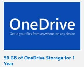 Bing Rewards: 50GB of OneDrive storage (1 year) for 5,250 Pts