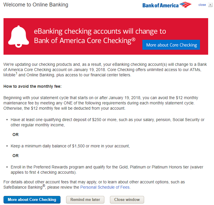bank of america saving account maintenance fee
