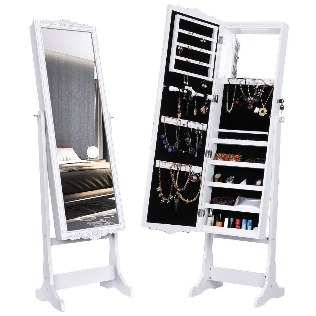 Lockable Carved Mirrored Jewelry Cabinet with LED Lights $69.29 + Free Shipping on Amazon