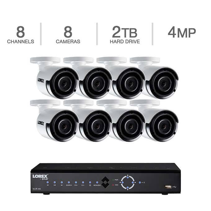 Lorex 8-Channel HD IP NVR with 2TB HDD, 8 4MP Cameras with 130'  Night Vision $699 + tax