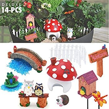 YABANI GARDENS Fairy Garden Kit 14 Piece Deluxe Set $7.99 + Free Shipping