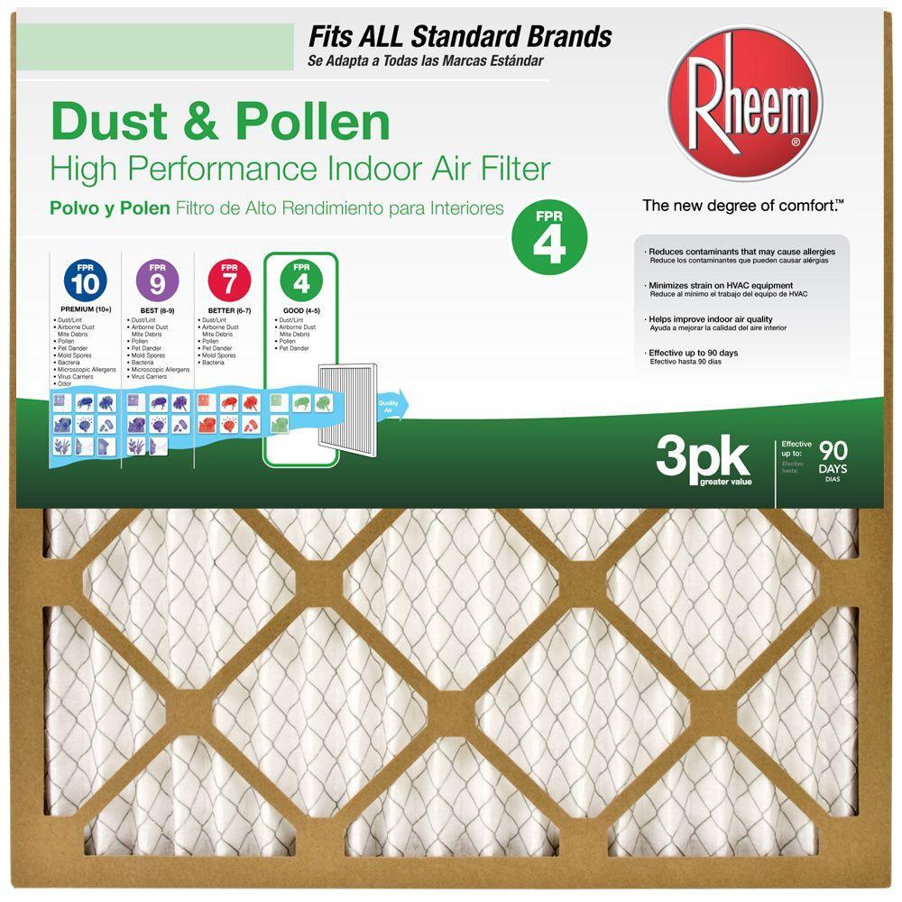 Rheem Basic Household Pleated FPR 4 Air Filter (3-Pack) $9.78