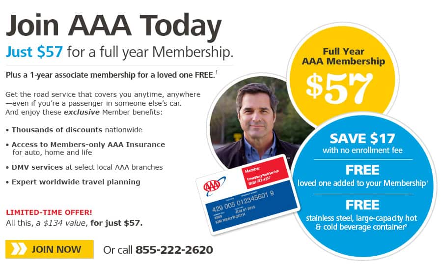 AAA Membership - Classic $0, Plus: $18.91, Premier $46.83 (Northern California, Nevada & Utah only)