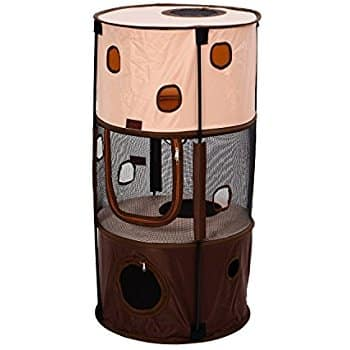 """Save $10 on Pawhut 39"""" Round 3-Story Pop Up Portable Cat Activity Tower Now $17.99 @ Amazon"""