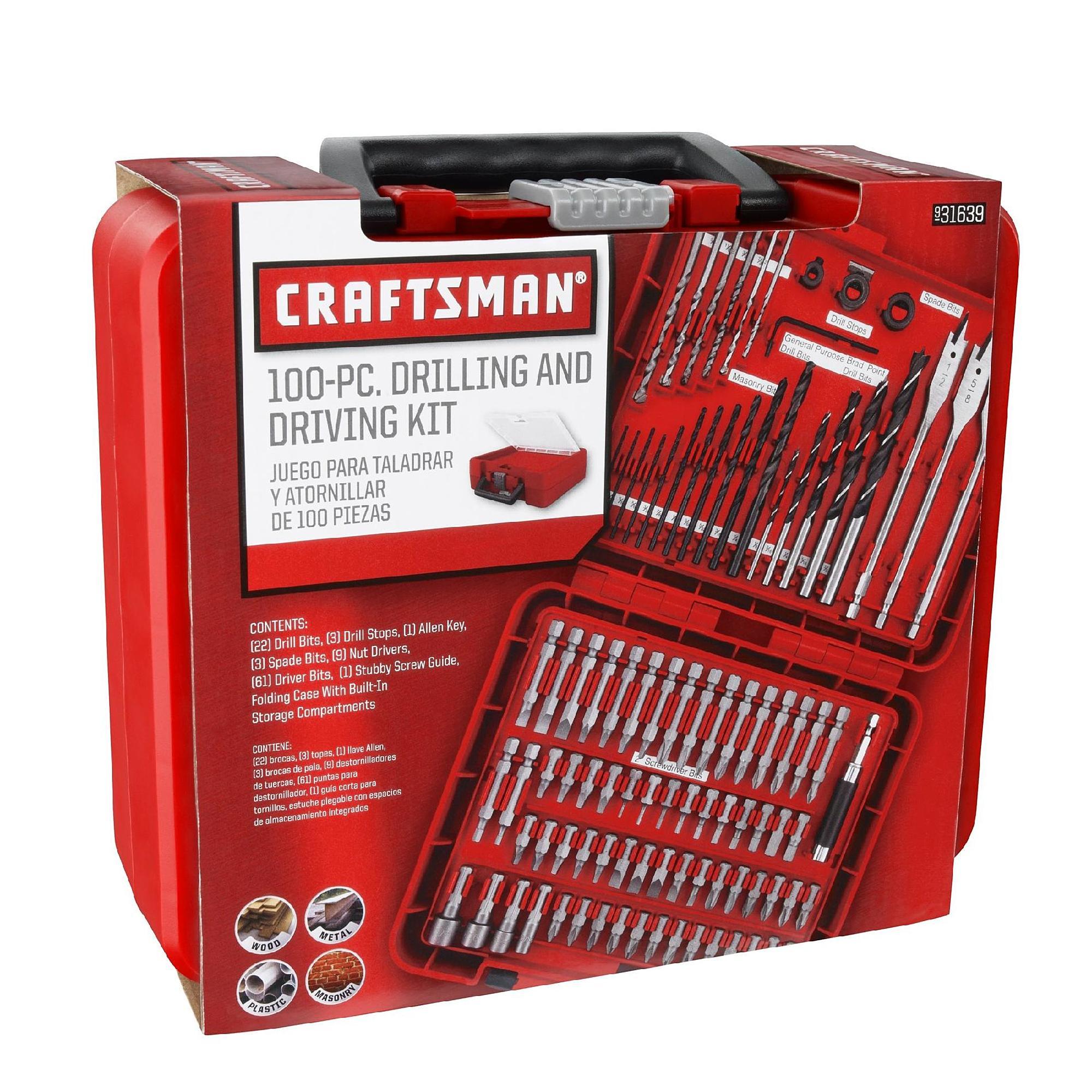 100-Piece Craftsman Drill Bit Accessory Kit $13 + Free Store Pickup at Sears $12.99