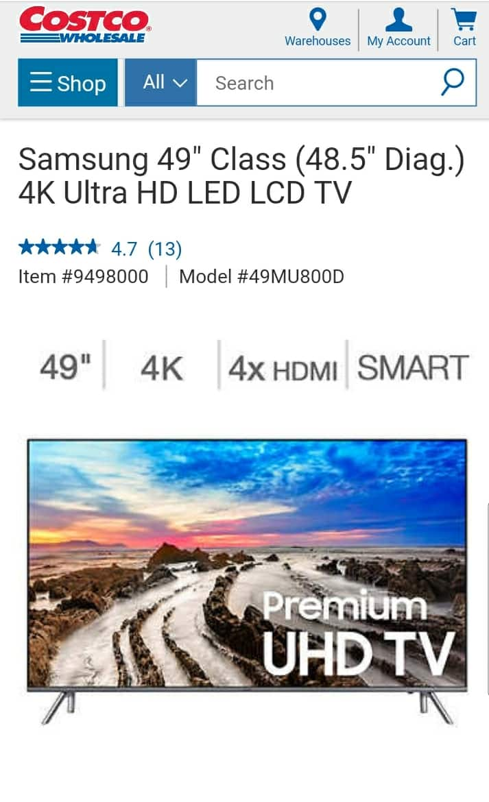 Samsung 49MU800d at Costco for $679.99 FREE $75 google play credit till 11/27