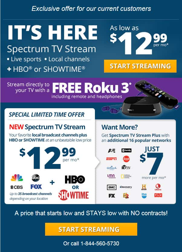 **FREE ROKU 3 with Charter Spectrum TV stream deal $12.99 or $19.99 NO CONTRACT