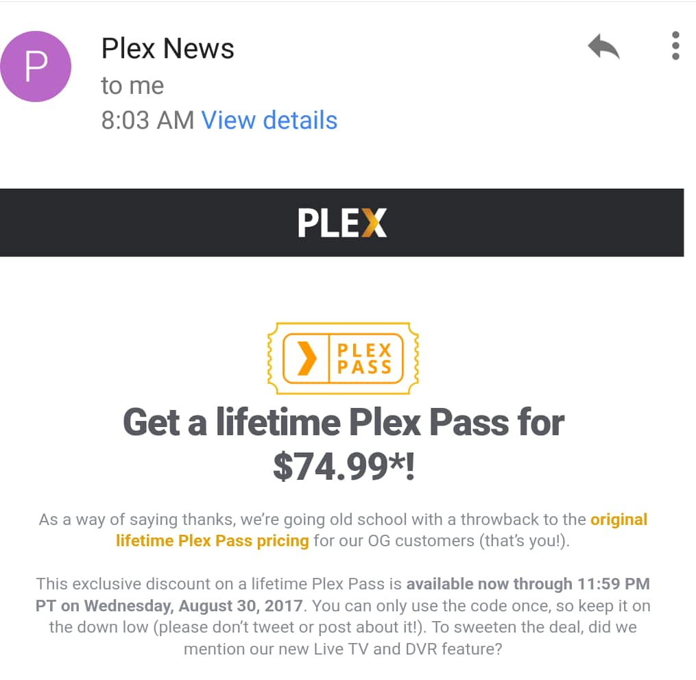 Plex Lifetime for $75  Email  Ymmy - Slickdeals net