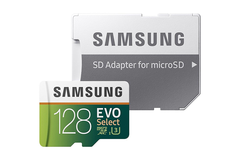 Samsung 128GB 100MB/s (U3) MicroSD EVO Select Memory Card with Adapter (MB-ME128GA/AM) $40