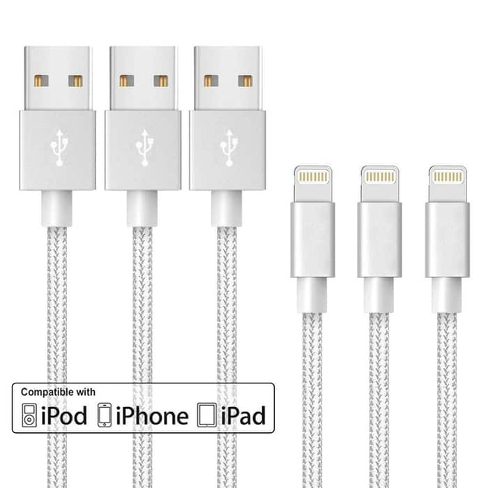 3 braided MFI-Lightning cables $12.99 + FS