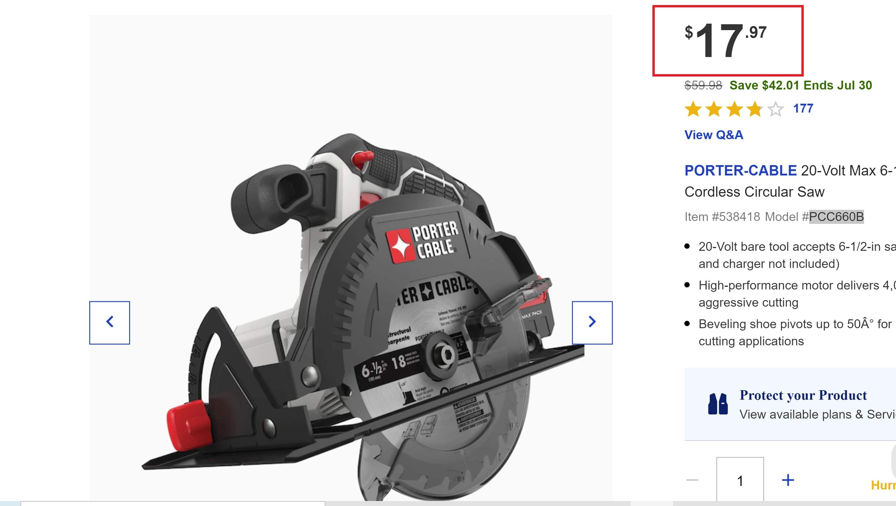PORTER-CABLE 20-Volt Max 6-1/2-in Cordless Circular Saw YMMV( $17.97 + In-Store )