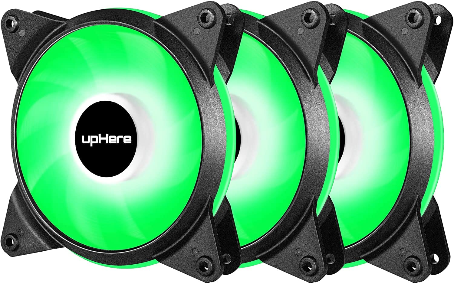 upHere 3-Pack 120mm High Airflow Quiet Edition Green LED Case Fan pwm 4in for PC Cases T4GN4-3 $9.99