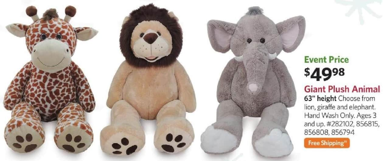 "Sam's Club Black Friday: 63"" Giant Plush Animal: Lion, Giraffe, or Elephant + FS for $49.98"