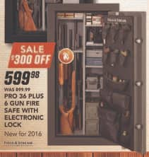 Field & Stream Black Friday: Field & Stream Pro 36 Plus 6 Gun Fire Safe with Electronic Lock + FS for $599.98
