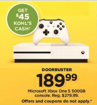 kohl s black friday microsoft xbox one s 500gb 45 kohl s cash