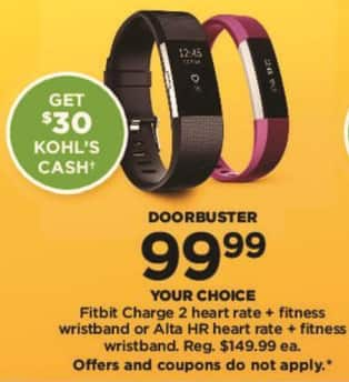 Kohl's Black Friday: Fitbit Charge 2 Fitness Wristband + $30 Kohl's Cash for $99.99