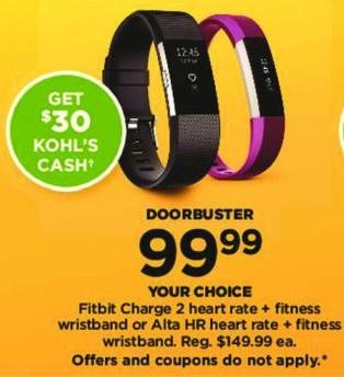 Kohl's Black Friday: Fitbit Alta HR Fitness Wristband + $30 Kohl's Cash for $99.99