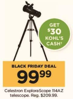 Kohl's Black Friday: Celestron ExploraScope 114AZ Telescope + $30 Kohl's Cash for $99.99