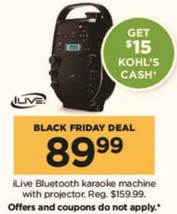 Kohl's Black Friday: iLive Bluetooth Karaoke Machine with Projector + $15 Kohl's Cash for $89.99