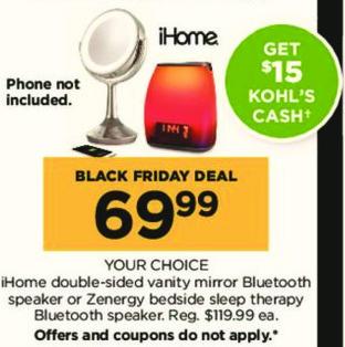 Kohl's Black Friday: iHome Double-Sided Vanity Mirror Bluetooth Speaker + $15 Kohl's Cash for $69.99