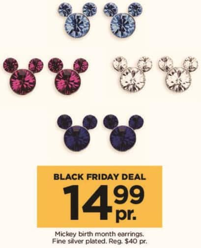 Kohl's Black Friday: Disney Fine Silver Plated Mickey Birth Month Earrings for $14.99