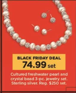 Kohl's Black Friday: 3-Pc. Cultured Freshwater Pearl and Crystal Bead Jewelry Set for $74.99