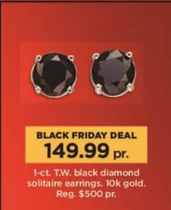 Kohl's Black Friday: 1 ct tw Black Diamond Solitaire Earrings in 10k Gold for $149.99