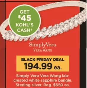 Kohl's Black Friday: Simply Vera Lab-created White Sapphire Bangle in Sterling Silver + $45 Kohl's Cash for $194.99