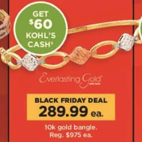 Kohl's Black Friday: 10k Gold Bangle + $60 Kohl's Cash for $289.99
