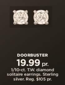 Kohl's Black Friday: 1/10 ct tw Diamond Solitaire Earrings in Sterling Silver for $19.99