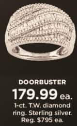 Kohl's Black Friday: 1 ct tw Diamond Ring in Sterling Silver for $179.99
