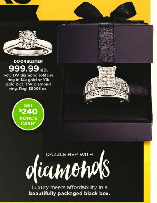 Kohl's Black Friday: 1 ct tw Diamond Solitaire Ring in 14k Gold + $240 Kohl's Cash for $999.99