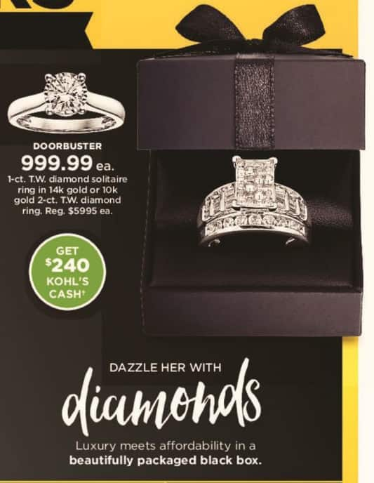 Kohl's Black Friday: 2 ct tw Diamond Ring in 10k Gold + $240 Kohl's Cash for $999.99