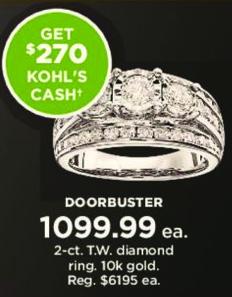 Kohl's Black Friday: 2 ct tw Diamond Ring in 10k Gold + $270 Kohl's Cash for $1,099.99
