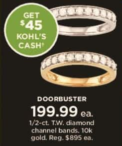 Kohl's Black Friday: 1/2 ct tw Diamond Channel Bands in 10k Gold + $45 Kohl's Cash for $199.99