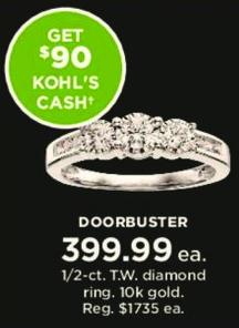 Kohl's Black Friday: 1/2 ct tw Diamond Ring in 10k Gold + $90 Kohl's Cash for $399.99