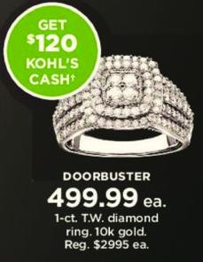 Kohl's Black Friday: 1 ct tw Diamond Ring in 10k Gold + $120 Kohl's Cash for $499.99