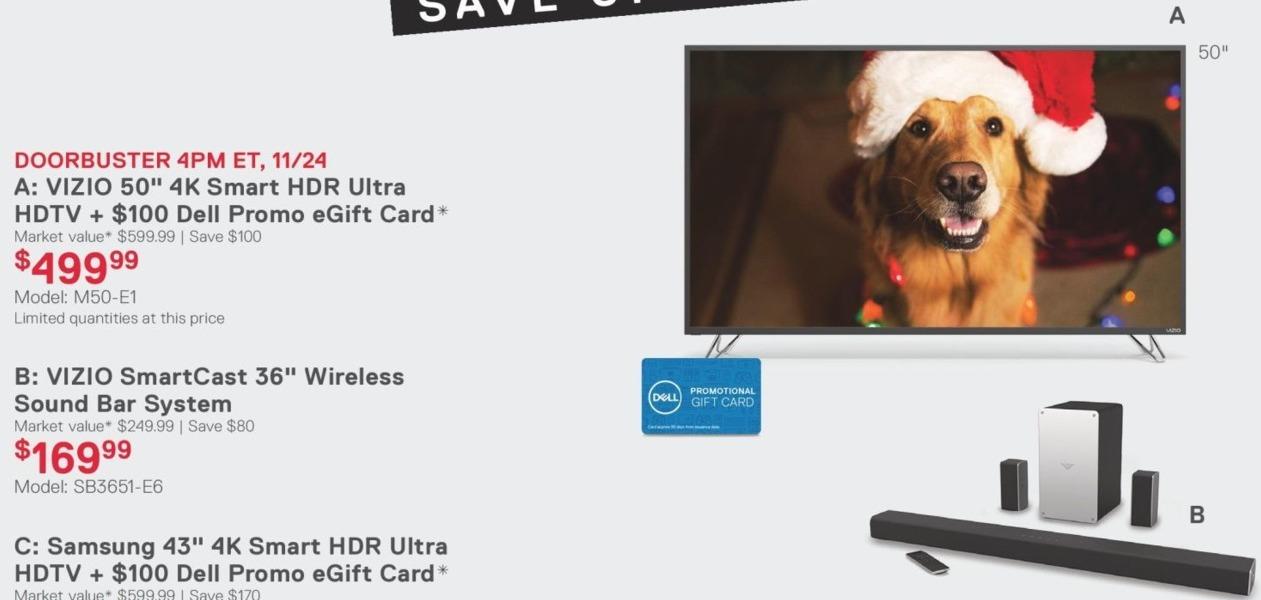"Dell Home & Office Black Friday: 50"" Vizio M50-E1 4K Smart LED HDTV + $100 Dell Promo eGift Card for $499.99"