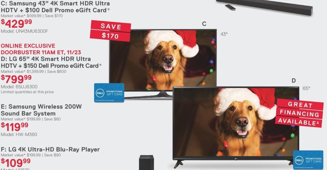"""Dell Home & Office Black Friday: 65"""" LG 65UJ6300 4K HDR Smart HDTV + $150 Dell Promo eGift Card for $799.99"""