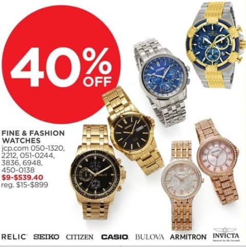 JCPenney Black Friday: Fine and Fashion Watches, Select Styles - 40% Off