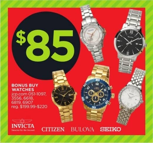 JCPenney Black Friday: Citizen Men's Black Dial Watch with Goldtone Stainless Steel Band for $85.00