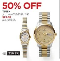 JCPenney Black Friday: Timex Watches, Select Styles for $29.98