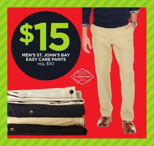 JCPenney Black Friday: St. John's Bay Men's Easy Care Pants for $15.00