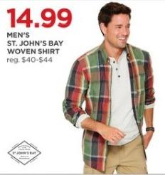 JCPenney Black Friday: St. John's Bay Men's Woven Shirt for $14.99