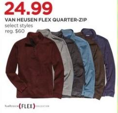 JCPenney Black Friday: Van Heusen Men's Flex Quarter-zip Pullover, Select Styles for $24.99
