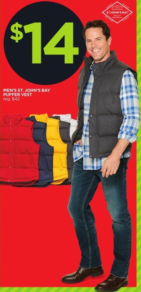 JCPenney Black Friday: St. John's Bay Men's Puffer Vest for $14.00