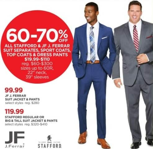 JCPenney Black Friday: All Stafford and JF. J Ferrar Men's Suit Separates, Sport Coats, Top Coats and Dress Pants, Select Sizes - 60-70% Off