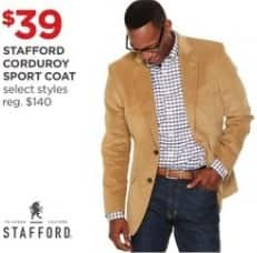 JCPenney Black Friday: Stafford Men's Corduroy Sport Coat, Select Styles for $39.00